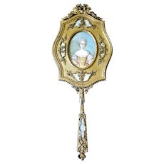 Superb Antique French Jeweled Bronze Hand Mirror w/ Handpainted signed Miniature Portrait