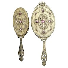 Antique E & J B Empire Art Gold Pink Jeweled Hand Mirror & Brush Set