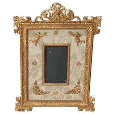 Antique 7x5 French Gilt Bronze Picture Frame for Miniature Portrait