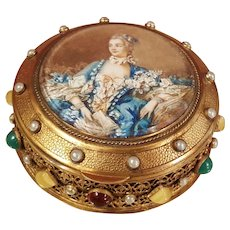 Lavish Antique French Jeweled Box w/ Superb Miniature Painting
