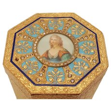 Vintage Italian Luxury  Box w/ Miniature Portrait, Colorful Enamel & Jeweled, Compact Related