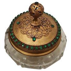 Antique Green Jeweled E & JB Empire Art Gold Powder Jar