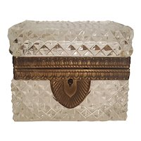 Lrg.  Antique French Diamond Cut Crystal Glass Casket w/ Gilt Mounts Trinket Box