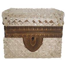 Lrg.  Antique French Diamond Cut Crystal Glass Casket w/ Gilt Mounts Trinket Box