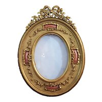 Superb Antique Signed French Gilt Bronze & Pink Guilloche Picture Frame