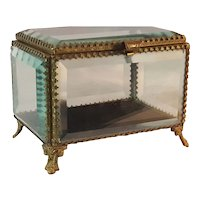 "Antique 5"" French Beveled Glass Casket Box Trinket"