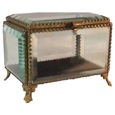 "Antique 5"" French Beveled Glass Casket Box Trinket"