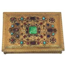 "Lrg. 8"" Antique Highly Jeweled Casket Trinket Box *  German Made"