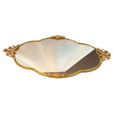 Gorgeous Lrg. Gold Plated Vanity Tray w/ Mirror 20 x 10.5