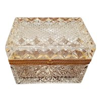 Large Cut Crystal Glass Hinged Casket Trinket Box Vintage