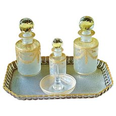 Superb Antique Baccarat 8 pc Vanity Set  Perfume Bottles, Tray & Ring Holder