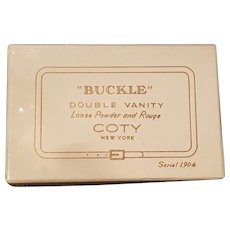 """1942 Coty """"Belt Buckle"""" Compact w/ Orignal Box Still Sealed, Never Opened * Book Item"""