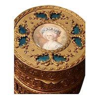 Fine Antique French Bronze Powder Jar w/ signed Hand Painted Portrait