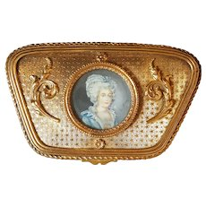 Antique French Box w/ Miniature signed hand painted portrait under glass