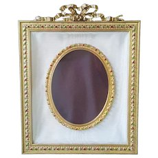 Antique French 10 x 8 Jeweled Bronze w/ Gold Gilt Picture Frame