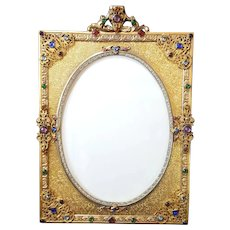 Antique Lrg. Jeweled Apollo Studios Picture Frame