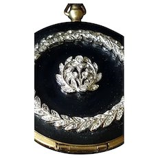 Vintage Pocket Watch Style Compact with Marcasites