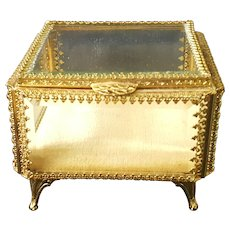 Nice VTG Gold & Beveled Glass Casket Trinket Box