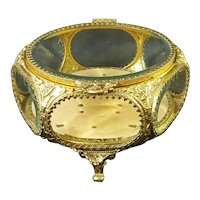 VTG Gold French Style Beveled Glass Casket
