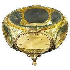 VTG Gold French Style Beveled Glass Casket Trinket Box