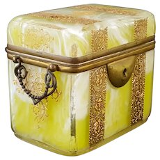 Rare Antique French Yellow-Verde Opaline Art Glass Box w/Bronze Mounts Handles Gold Enamel