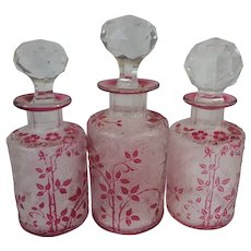 Set of 3 French Antique Baccarat / Val St. Lambert Perfume bottles Red/Cranberry Cameo Glass