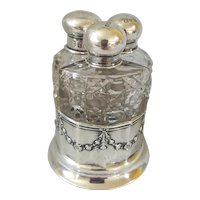 Antique c1903 English Chester Sterling Silver & Crystal Perfume Set w/ Caddy