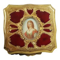 Vintage Gold Plated & Red Enamel Jeweled Italian Luxury Compact w/ Miniature Painting