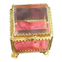 Antique Small French Beveled Glass Casket Trinket box