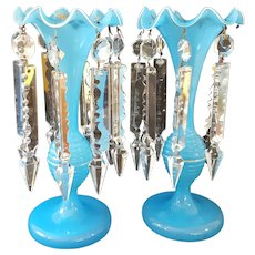 Antique Pair Mantle Lusters Blue Opaline Glass, Gold Leaf Paint w/ Crystal Prisms