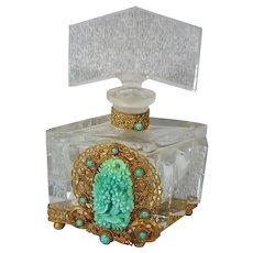 Antique Lrg. Czech Jeweled, Filigree Perfume Bottle