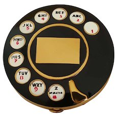 VTG 1950's Black Rotary Telephone Compact Inspired by Salvador Dali