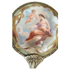 Antique Hand Mirror w/ Hand Painted Lady, Cherub on Porcelain