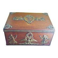 Antique French Empire Hardwood Box Gilt Bronze/Brass Appliques on Casket Trinket Box