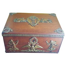 Antique French Empire Hardwood Box Gilt Bronze/Brass Appliques on Casket Trinket Box