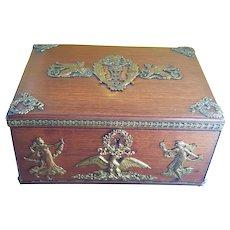 "Antique French Wood Box w/ 8.25"""