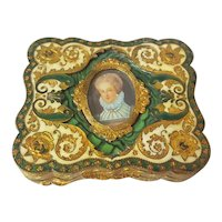 Vintage Gold Plated Italian Luxury Compact w/ Miniature Painting, Colorful Green Enamel