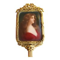"Rare Superb Antique French 7"" Bronze Hand Mirror w/ Stunning Miniature Portrait"