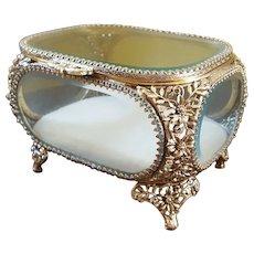 Excellent Vintage Gold Casket w/ Beveled Glass Trinket Box