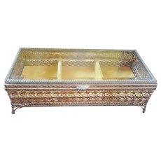 VIntage Gold & Beveled Glass Jewelry Casket Trinket Box