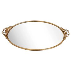 Vintage Mirror Vanity Tray Gold Plated French Ribbon Bows