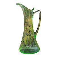 "Antique 10"" Bohemain Green Vaseline Glass & Enamel Ewer Pitcher"