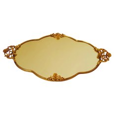 "Gorgeous Large 20"" x 11.25"" Gold Plated Vanity Perfume Tray w/ Mirror"