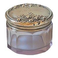 Antique Sun Purple Glass w/ Sterling Silver Top Powder Jar Vanity