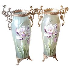 "Antique Pair Lrg. 14.5"" Vases Green Blown Glass w/ Enamel 3D flowers Gold Gilt Mounted"