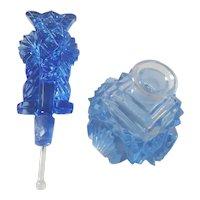 Antique Blue Cut Glass  Czechoslovakia Perfume Bottle Czech