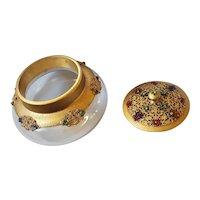 Antique Apollo Studios JEWELED Powder Jar Gold Ormolu Filigree Glass bottom