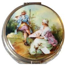 Fine Antique Hand Painted / Cut Glass Powder Jar w/ Mirror / Excellent!