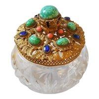 Antique Austrian / Czech  Jeweled Powder Jar