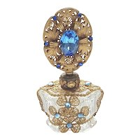 Antique Czech Jeweled Perfume Bottle